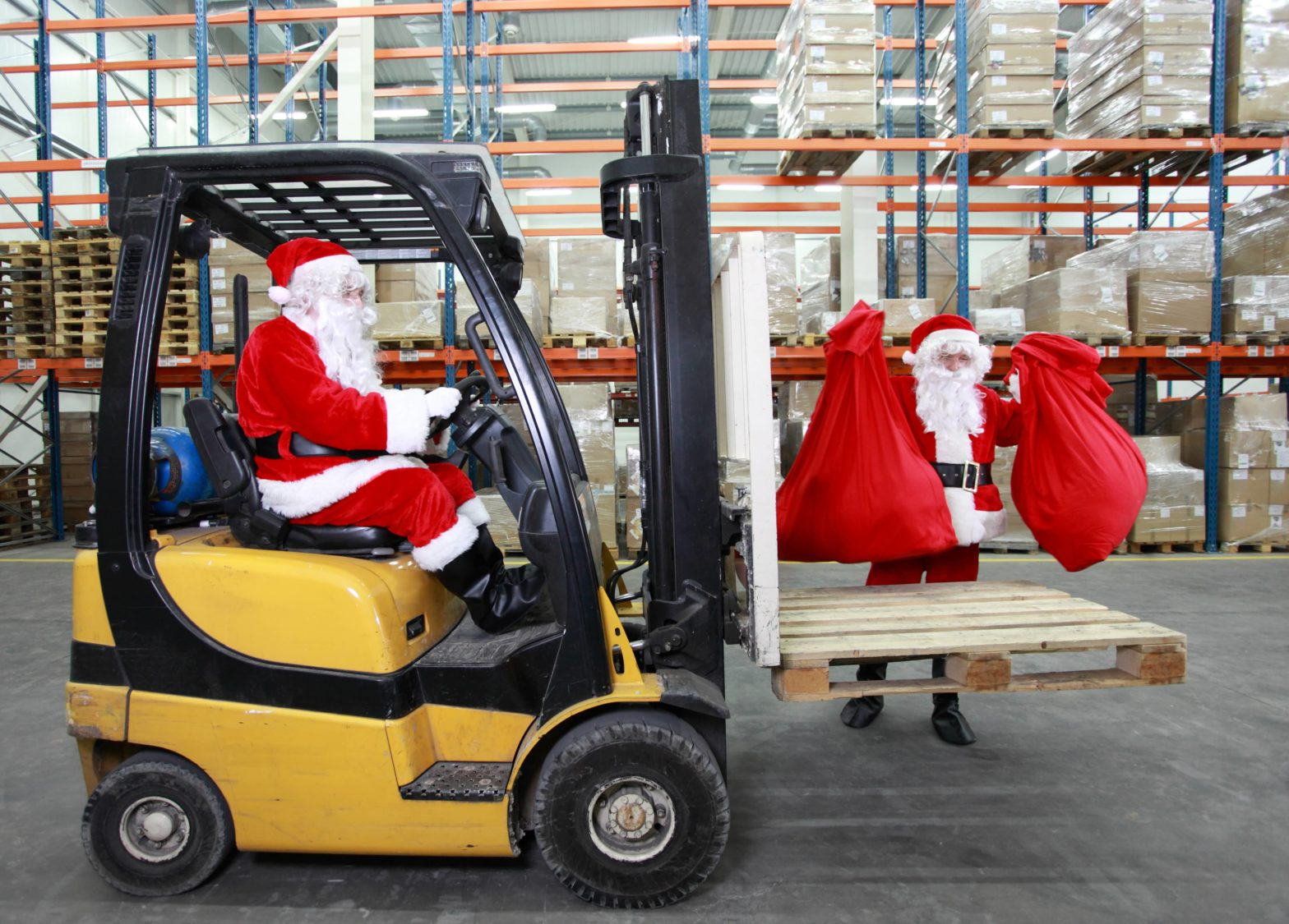 Working Santa Factory Fork Lift Holiday Workers-min