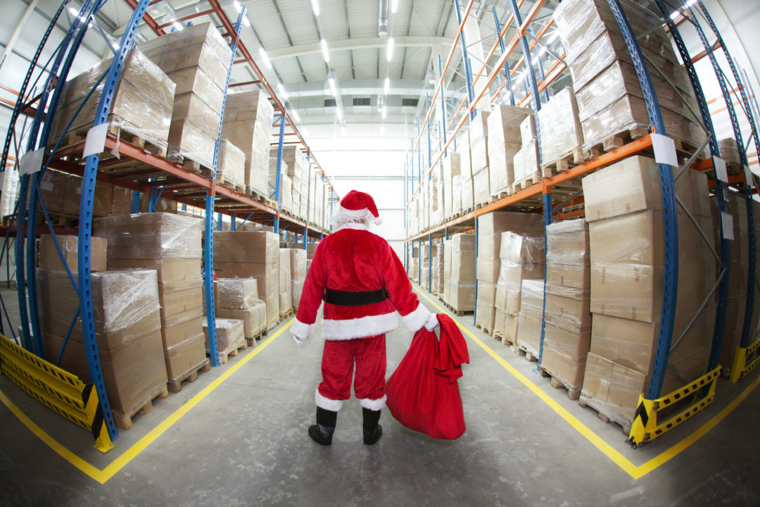 Lonely Santa Claus in Gifts Distribution Center